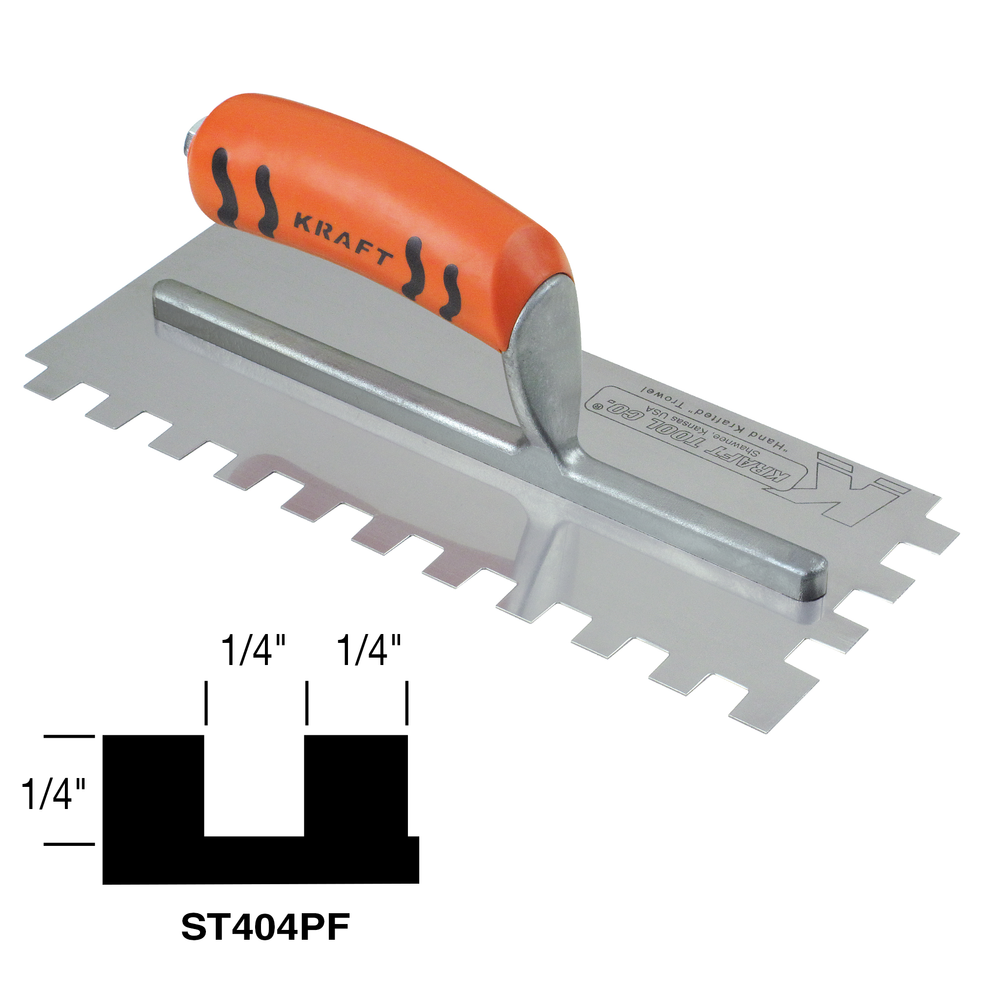 1/4inch X 1/4inch X 1/4inch Square-notch Trowel With Proform Handle - St404pf - Tools Masonry Tools Notch Trowels ST404PF
