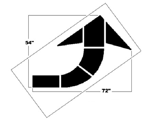 72 Inch Federal Curved Arrow Stencil - 10003459 - Outdoor & Grounds Maintenance Polytough Stencils And Templates Parking Lot Stencils 10003459