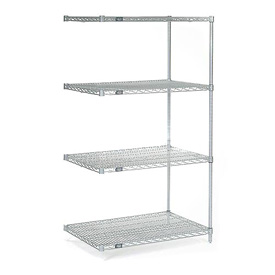 """Foodservice And Appliances Wire Shelving Nexel Green Epoxy Wire Shelving - 188201 - 54""""h Nexel Chrome Wire Shelving Add-on-24""""w X 14""""d 188201"""