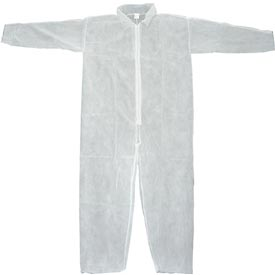 Disposable Coveralls With Open Ended Wrists/ankles; White; L-pkg Qty 25 - 754323l - Protective Clothing Disposable Coveralls & Overalls 754323L