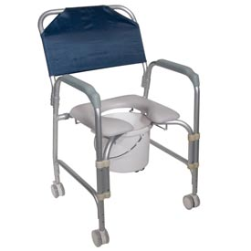 """Medical And Laboratory Equipment Medical Equipment Commodes - B274936 - Drive Medical Aluminum Shower Chair And Commode With Casters; 16""""w X 16""""d Seat B274936"""