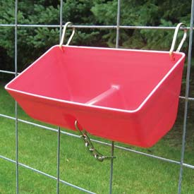 Outdoor And Grounds Maintenance Animal Housing And Livestock Animal Feeders And Waterers - B900472 - Little Giant Fence Feeder With Metal Clips &amp Chain Ff16red; Polyethylene; 7.75 Qt.; Red-pkg Qty 6 B900472