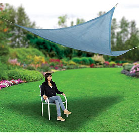 Outdoor And Grounds Maintenance Awnings Canopies And Shelters Shade Sails - 270024 - Global 12' Triangle Shade Sail; Sea Blue 270024