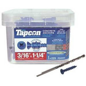 "Fasteners And Hardware Anchors Screw Anchors - B2186279 - Itw Tapcon Concrete Anchor-3/16 X 1-1/4""-phillips Flat Head-pkg Of 225-24550 B2186279"