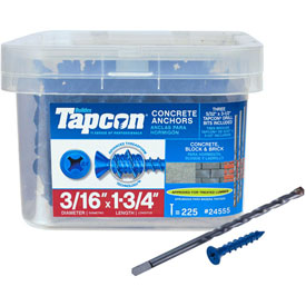 "Fasteners And Hardware Anchors Screw Anchors - B2186278 - Itw Tapcon Concrete Anchor-3/16 X 1-3/4""-phillips Flat Head-pkg Of 225-24555 B2186278"