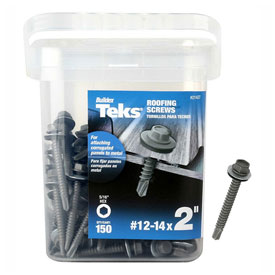 "Itw Teks Roofing Screw-12 X 2""-hex Washer Head-drill Point-21427 - B2186281 - Fasteners And Hardware Self Drilling Screws 8 X 34 Phillips Round Washer Head Self Drilling Screw Full Thread Zinc Bake Pkg Of 10000 B2186281"