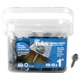 "Itw Teks Roofing Screw-9-15 X 1""-hex Washer Head-sharp Point-pkg Of 360-21401 - B2186262 - Fasteners And Hardware Self Drilling Screws 8 X 34 Phillips Round Washer Head Self Drilling Screw Full Thread Zinc Bake Pkg Of 10000 B2186262"