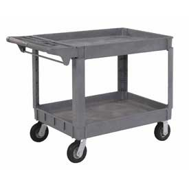"""Material Handling Casters Pneumatic Full Pneumatic Casters 200 450 Lb Capacity - 242085 - Large Deluxe 2 Shelf Plastic Utility &amp Service Cart 6"""" Pneumatic Casters 242085"""