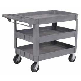 """Material Handling Casters Pneumatic Full Pneumatic Casters 200 450 Lb Capacity - 242087 - Large Deluxe 3 Shelf Plastic Utility &amp Service Cart 6"""" Pneumatic Casters 242087"""