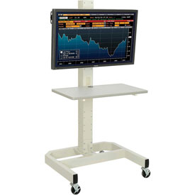 Medical And Laboratory Equipment Medical Computer Workstations Mobile Computer Carts - 239192bge - Lcd/plasma Mobile Cart With Power Outlet-beige 239192BGE