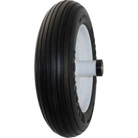 "Material Handling Casters Wheels And Tires - B639915 - Marathon 00003 3.50/2.50-8 Flat Free Wheelbarrow Tire-ribbed Tread-6"" Centered-5/8"" Bearings B639915"