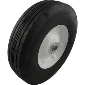 "Material Handling Casters Wheels And Tires - B639911 - Marathon 00411 10x2.75 Semi-pneumatic Ribbed Tread-2.3"" Centered-5/8"" Bearings B639911"