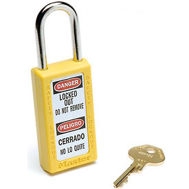 Master Lock Safety 411 Series Zenex Thermoplastic Padlock; Yellow; 411ylw - B729999 - Tools & Instruments Locking & Lockout Devices Safety Lockout Padlocks B729999