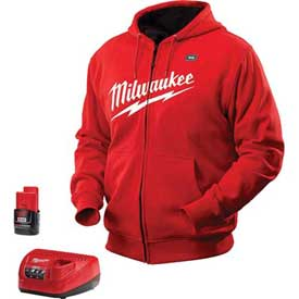 Tools And Instruments Batteries Chargers And Accessories Cordless Tool Batteries And Chargers - B1140712 - Milwaukee 2371-2x M12 Cordless Red Heated Hoodie Kit-2x B1140712