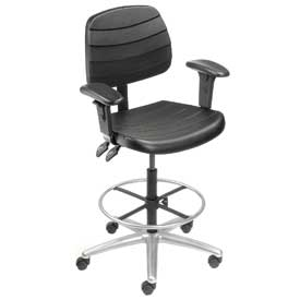 Furniture And Office Stools Polyurethane - 250613 - Shop Stool With Arms-polyurethane-6 Way Adjustable-black 250613