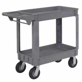 "Material Handling Casters Pneumatic Full Pneumatic Casters 200 450 Lb Capacity - 242082 - Small Deluxe 2 Shelf Plastic Utility &amp Service Cart 6"" Pneumatic Casters 242082"