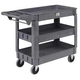 "Material Handling Trucks And Carts Plastic Shelf Trucks - 242083 - Small Deluxe 3 Shelf Plastic Utility &amp Service Cart 5"" Rubber Casters 242083"