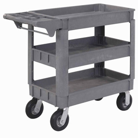 "Material Handling Casters Pneumatic Full Pneumatic Casters 200 450 Lb Capacity - 242084 - Small Deluxe 3 Shelf Plastic Utility &amp Service Cart 6"" Pneumatic Casters 242084"
