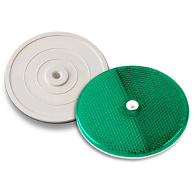 """Outdoor And Grounds Maintenance Traffic And Parking Lot Safety Traffic Parking Curbs - B1504083 - Tapco 102230 3-1/4"""" Green Centermount Reflector; Plastic Backplate; Rt-90g B1504083"""
