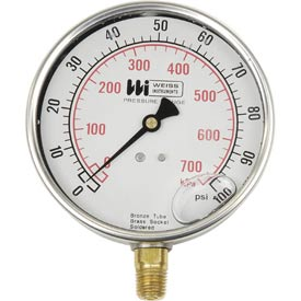 """Tools And Instruments Pressure Gauges Low Pressure Gauges - B454124 - Weiss Lf441-060-4l; 4"""" Dial ; Liquid Filled; 1/4"""" Bottom; 0-60psi B454124"""