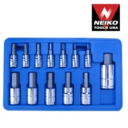 13 Pcs Hex Bit Socket Set Sae-nk - 10075a - Tools And Instruments Ratchets Sockets And Wrenches Sockets Hex Bit 10075A